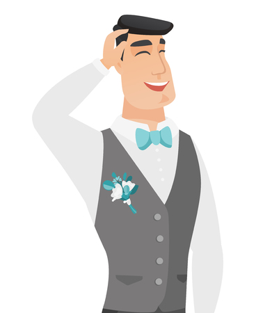 Young caucasian groom laughing with hands on his head. Cheerful groom laughing with closed eyes and open mouth. Vector flat design illustration isolated on white background.