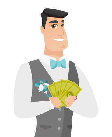 Happy caucasian groom holding money in hands. Young excited groom in a wedding suit showing money. Vector flat design illustration isolated on white background.