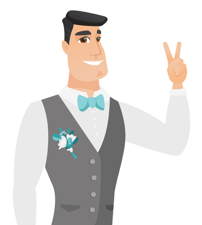 Caucasian groom in a wedding suit showing the victory gesture. Young cheerful groom showing the victory sign with two fingers. Vector flat design illustration isolated on white background.