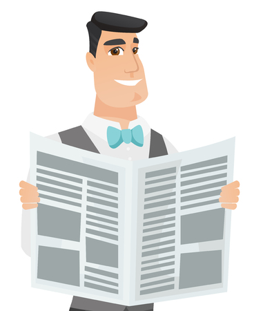 Caucasian groom reading a newspaper. Groom standing with a newspaper in hands. Young groom reading good news in a newspaper. Vector flat design illustration isolated on white background.