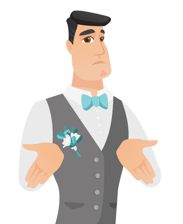 Confused caucasian groom shrugging his shoulders. Young doubtful groom gesturing hands and shrugging his shoulders. Vector flat design illustration isolated on white background.