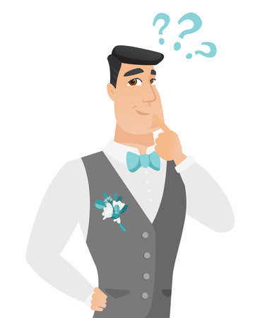 Young thoughtful caucasian groom looking at question marks above his head. Thinking groom with question marks. Vector flat design illustration isolated on white background.