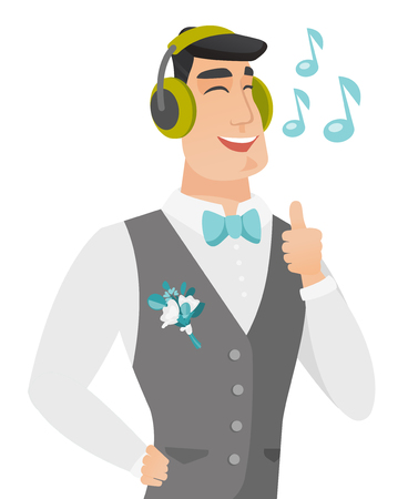 Caucasian groom listening to music in headphones. Young groom with closed eyes listening to music in headphones and singing. Vector flat design illustration isolated on white background. Stock Vector - 81501284