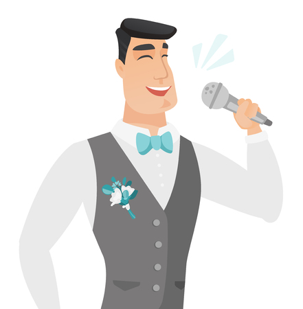 Caucasian groom in a wedding suit singing to the microphone. Young groom singing with closed eyes. Happy groom singing to the mic. Vector flat design illustration isolated on white background.