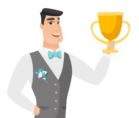 Caucasian groom in a wedding suit holding a golden trophy. Young happy groom celebrating with a trophy. Vector flat design illustration isolated on white background. Illustration