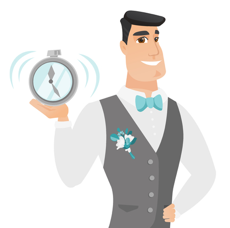 Caucasian groom in a wedding suit showing a ringing alarm clock. Young smiling groom holding an alarm clock. Vector flat design illustration isolated on white background.