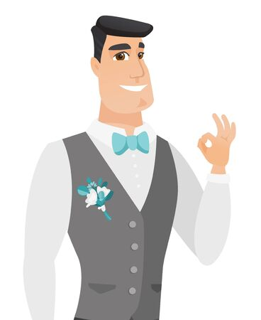 Caucasian smiling groom showing an ok sign. Young cheerful groom in a wedding suit making an ok sign. Groom gesturing an ok sign. Vector flat design illustration isolated on white background.