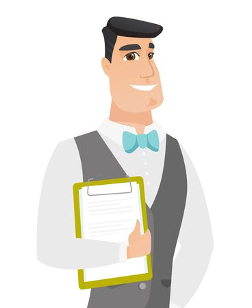 Caucasian groom holding a clipboard with documents. Young groom in a wedding suit holding documents. Vector flat design illustration isolated on white background.