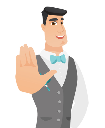 Caucasian groom in a wedding suit showing palm hand. Young groom making stop gesture by his palm. Vector flat design illustration isolated on white background.