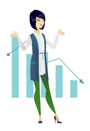 bankrupt: Asian discussing bankruptcy, standing on the background of decreasing chart. Young bankrupt business woman with spread arms. Business bankruptcy concept in vector flat design illustration isolated on white background