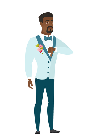 Disappointed african groom with thumb down. Illustration