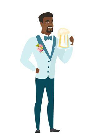 African-american groom in a wedding suit drinking beer.