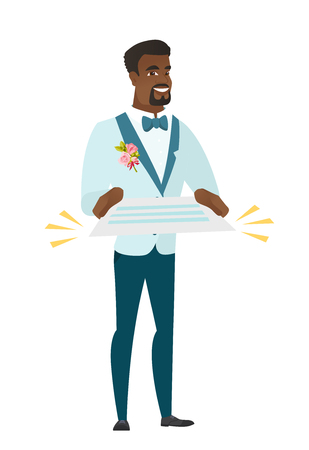 Cheerful african-american groom in a wedding suit holding a contract. Illustration
