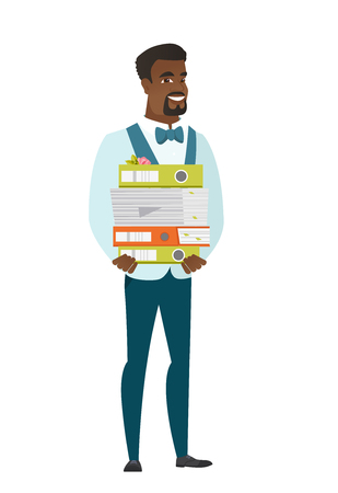 African groom in a wedding suit holding pile of folders and papers. Illustration