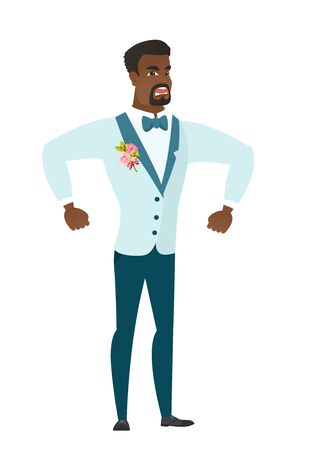 Young african angry groom screaming. Full length of angry groom clenching fists. Angry groom in a wedding suit shouting with raised fists. Vector flat design illustration isolated on white background.