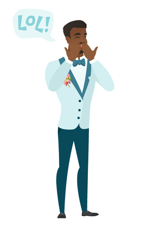 laugh out loud: Young african-american groom laughing out loud. Groom and speech bubble with text - lol. Groom laughing out loud and covering his mouth. Vector flat design illustration isolated on white background. Illustration