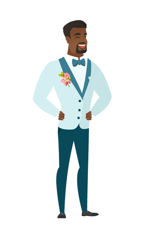 Young african groom in a wedding suit laughing. Groom laughing with hands on his stomach. Groom laughing with closed eyes and open mouth. Vector flat design illustration isolated on white background.