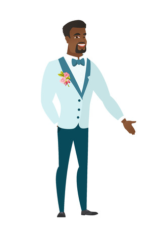 fiance: African-american groom with hand in his pocket.