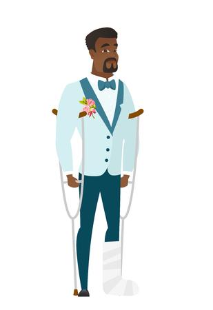 Injured groom with broken leg. Illustration