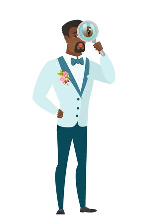 African-american groom with magnifying glass. Illustration