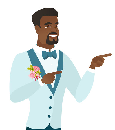 Young african-american groom pointing to the side. Illustration