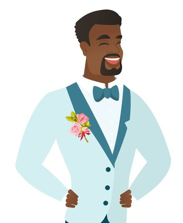 Young african-american groom laughing.