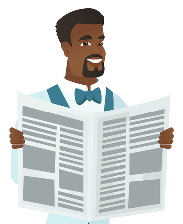 Young african-american groom reading newspaper.