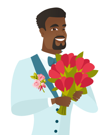 Young african-american groom with bridal bouquet.