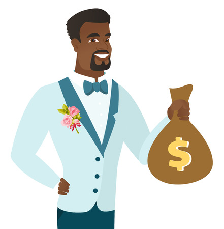 Young african-american groom showing a money bag. Illustration