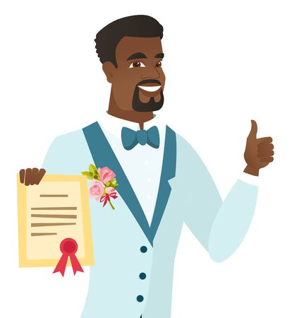 Young african-american groom holding a certificate 向量圖像