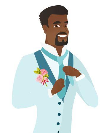 Cheerful african-american groom adjusting tie.