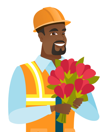 Young african-american builder with bouquet.