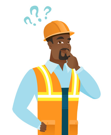African thinking builder with question marks.