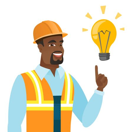 African-american builder pointing at light bulb.