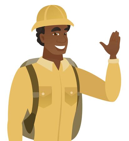 手を振って若いアフリカ系アメリカ人の旅行者。挨拶ジェスチャーを作る - 手を振って喜んで旅行。ベクトル フラットなデザイン イラストは、白い  イラスト・ベクター素材