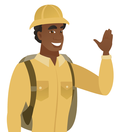Young african-american traveler waving his hand. Glad traveler making greeting gesture - waving hand. Vector flat design illustration isolated on white background.