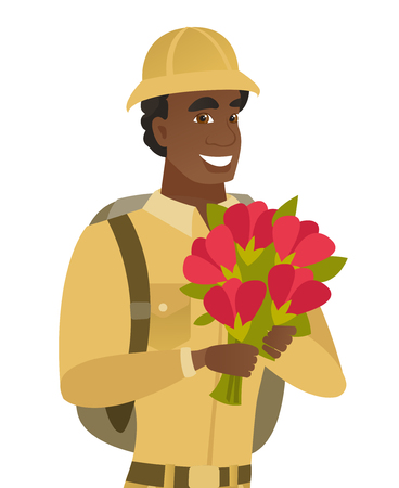 young black man: Young african traveler holding bouquet of flowers. Illustration