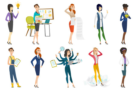 asian business: Business woman, stewardess, doctor profession set. Illustration