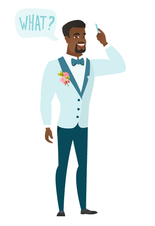 Young african-american bridegroom with question what in speech bubble. Full length of smiling bridegroom with text what in speech bubble. Vector flat design illustration isolated on white background. Illustration