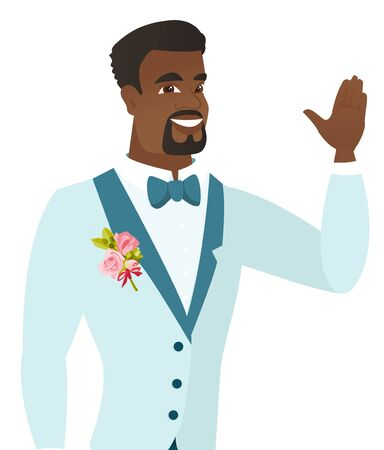 wave hello: Young african-american groom in a wedding suit waving his hand. Groom making greeting gesture - waving hand. Vector flat design illustration isolated on white background.