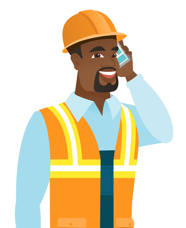 African-american builder in hard hat talking on the mobile phone. Young smiling builder talking on cell phone. Builder using cell phone. Vector flat design illustration isolated on white background.
