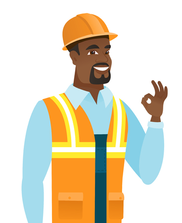African-american smiling builder showing ok sign. Young cheerful builder making ok sign. Successful happy builder gesturing ok sign. Vector flat design illustration isolated on white background. Illustration