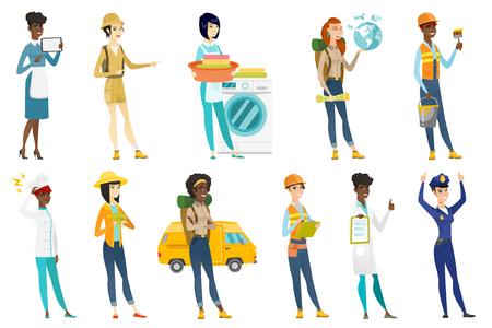 Profession set for women - builder, house painter, traveler, chef, cleaner using washing machine, doctor, police woman, rancher. Set of vector flat design illustrations isolated on white background.