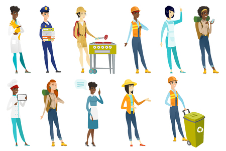 Profession set for women - builder, tourist cooking steak, chief-cooker, housekeeper, veterinarian doctor, police woman, farmer. Set of vector flat design illustrations isolated on white background.