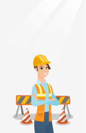 arms folded: Confident builder with arms crossed.