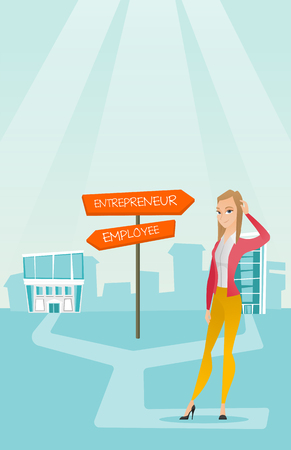 opportunity sign: Confused woman choosing career pathway.