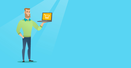 Young caucasian man using a laptop for shopping online. Happy man holding a laptop with a shopping trolley on screen. Man doing online shopping. Vector flat design illustration. Horizontal layout.