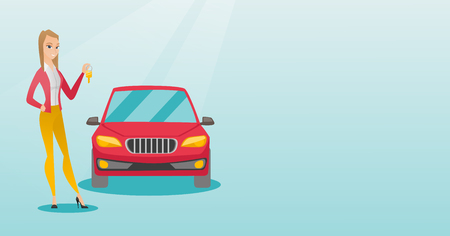 Young caucasian woman holding keys to her new car. Woman showing key to her new car. Smiling cheerful woman standing on the backgrond of new car. Vector flat design illustration. Horizontal layout.