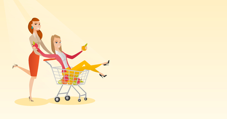 Happy caucasian woman pushing a shopping trolley with her friend. Couple of young carefree friends having fun while riding in shopping trolley. Vector flat design illustration. Horizontal layout.