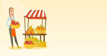 mujer en el supermercado: Greengrocer la celebración de la caja llena de manzanas.